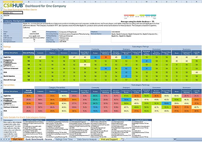 CSRHub Dashboard One Company Report
